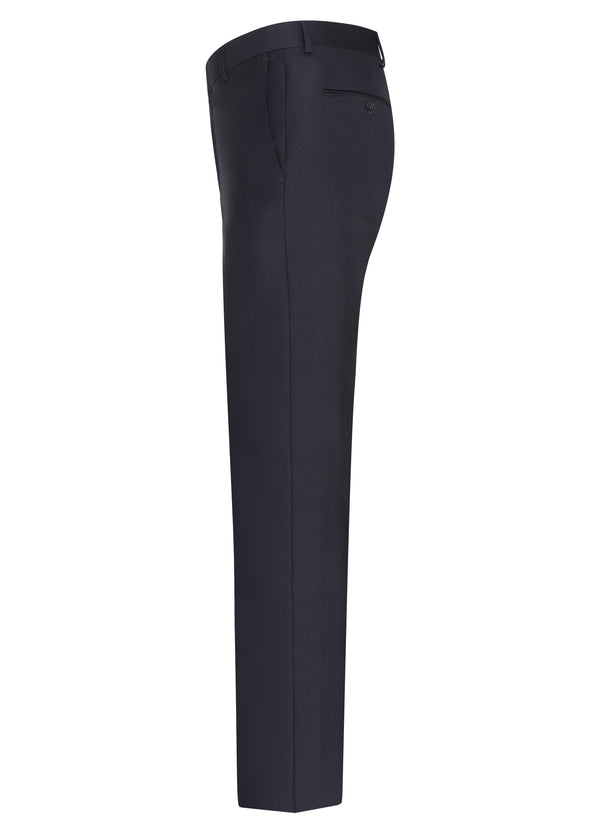 Navy Flat Front Trousers - Classic Fit