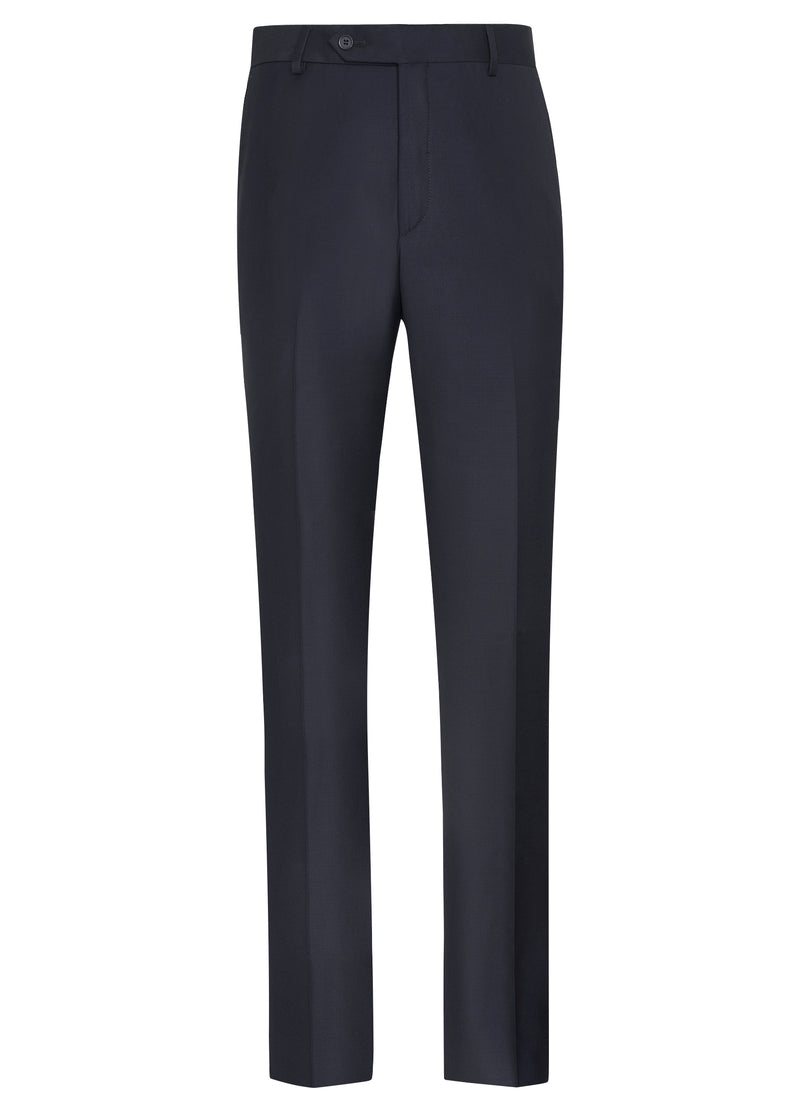 Canadian made Navy Classic Flat Front Trousers from Samuelsohn