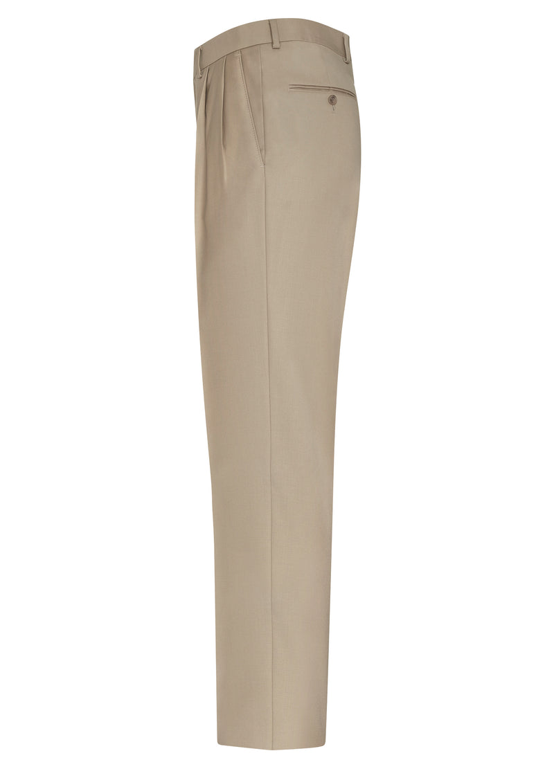 Taupe Double Reverse Pleat Trousers