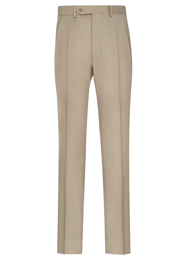 Canadian made Taupe Double Reverse Pleat Trousers from Samuelsohn