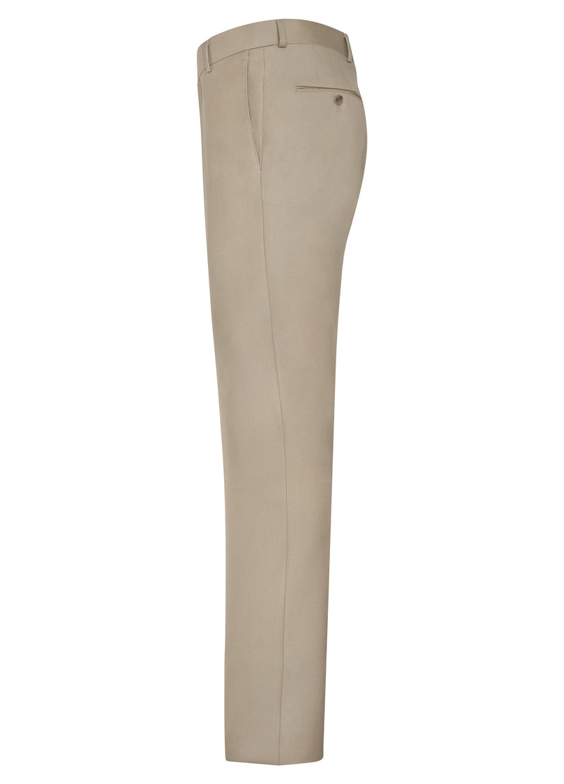 Taupe Flat Front Trousers - Classic Fit