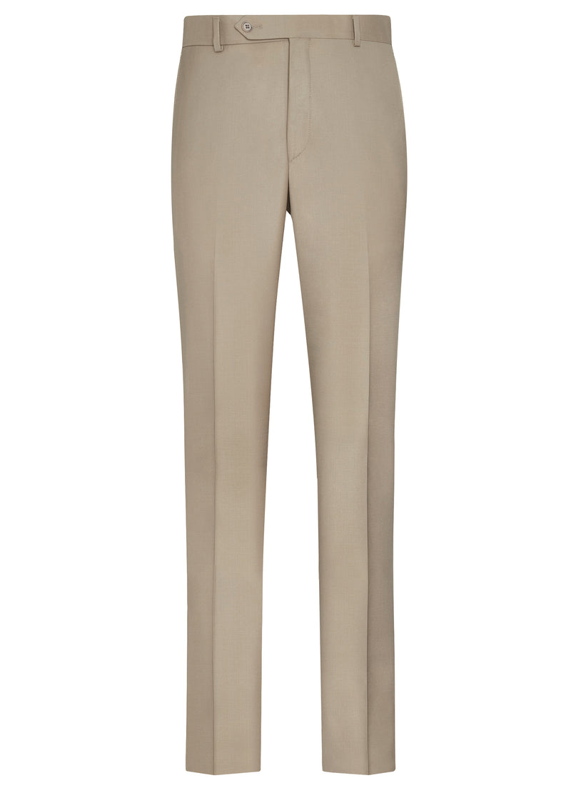 Canadian made Taupe Classic Flat Front Trousers from Samuelsohn
