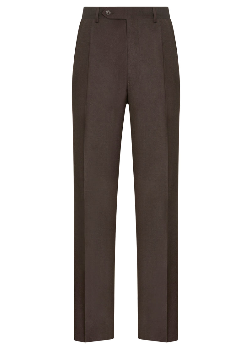 Brown Classic Flat Front Trousers