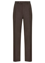 Canadian made Brown Double Reverse Pleat Trousers from Samuelsohn
