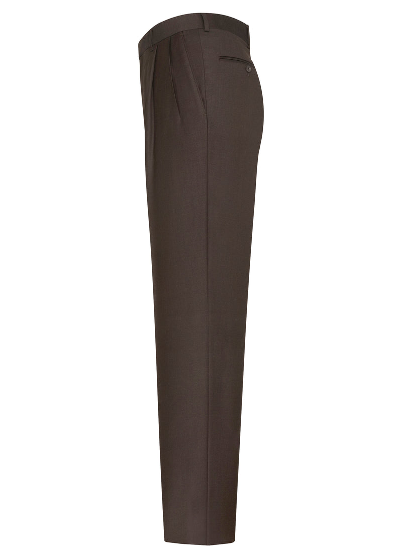 Brown Double Reverse Pleat Trousers