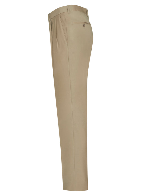 Tan Flat Front Trousers - Classic Fit