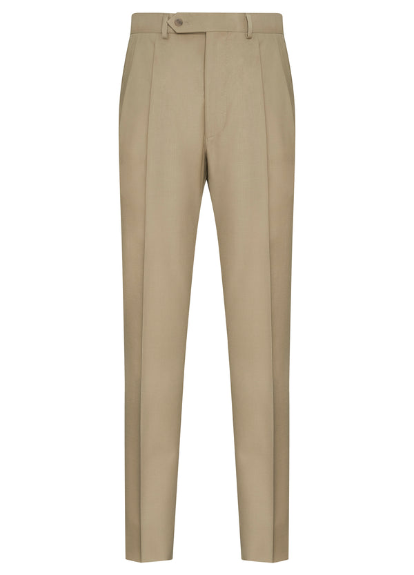 Canadian made Tan Classic Flat Front Trousers from Samuelsohn