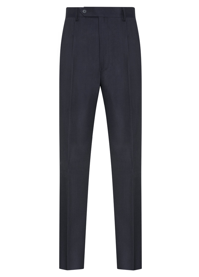 Canadian made Dark Blue Classic Flat Front Trousers from Samuelsohn