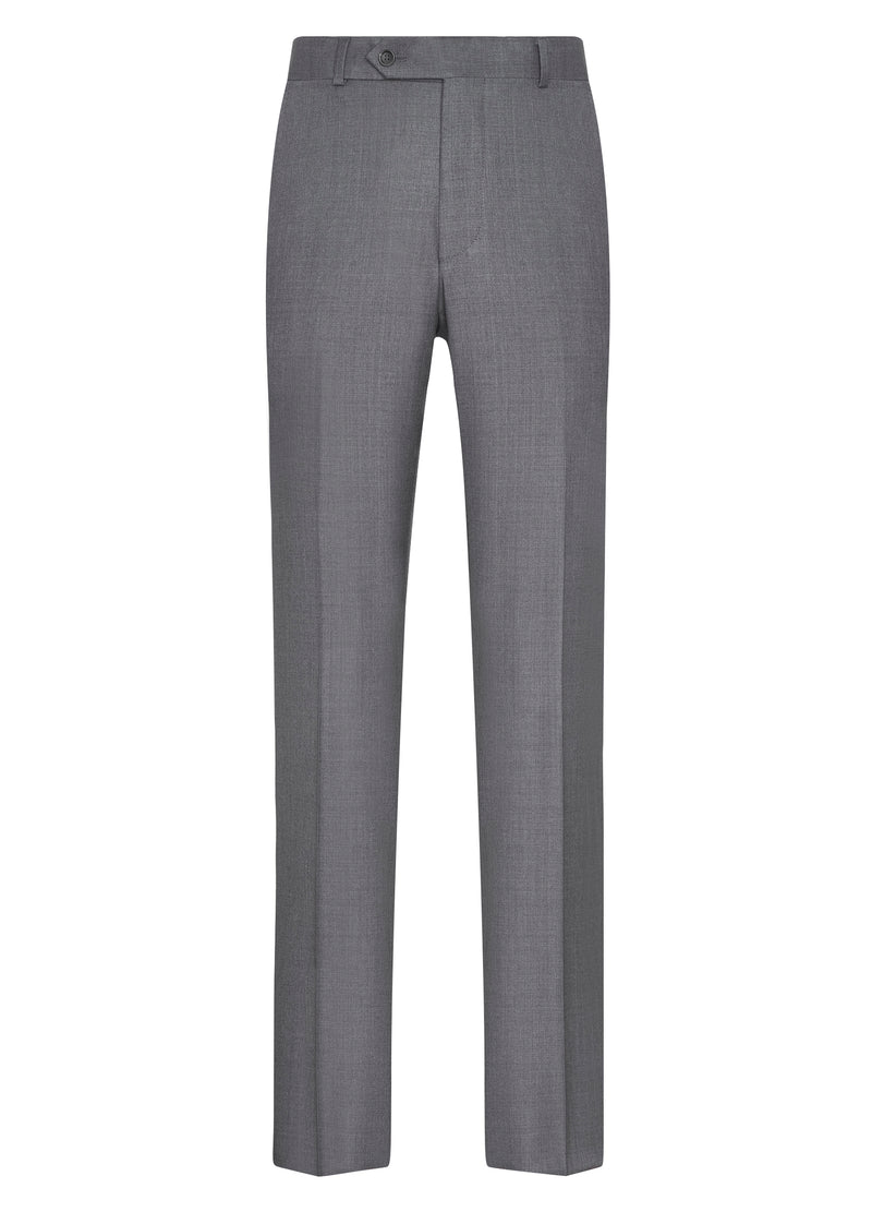 Canadian made Grey Flat Front Trousers from Samuelsohn