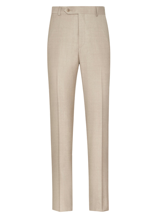 Canadian made Beige Flat Front Trousers from Samuelsohn