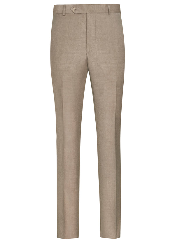 Canadian made Tan Flat Front Trousers from Samuelsohn
