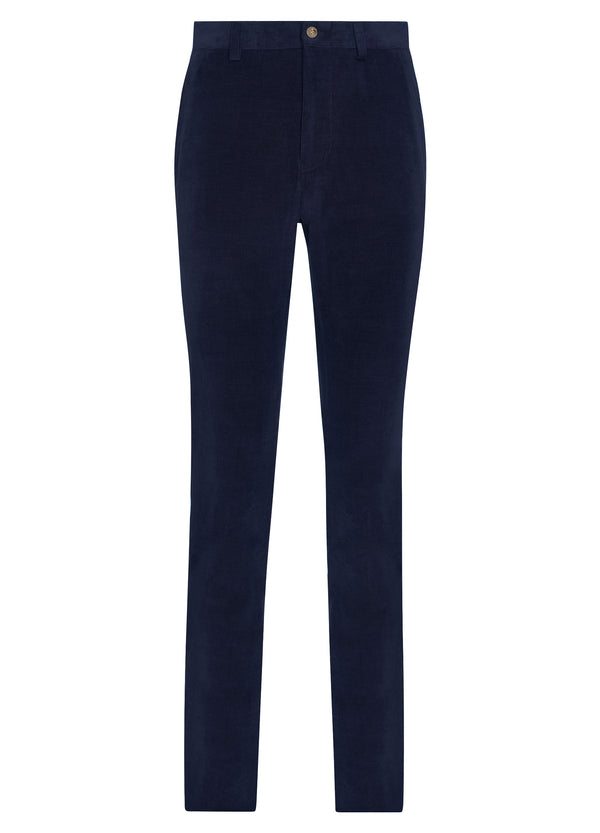 Canadian made Navy Cotton Cashmere Minicord Trousers from Samuelsohn
