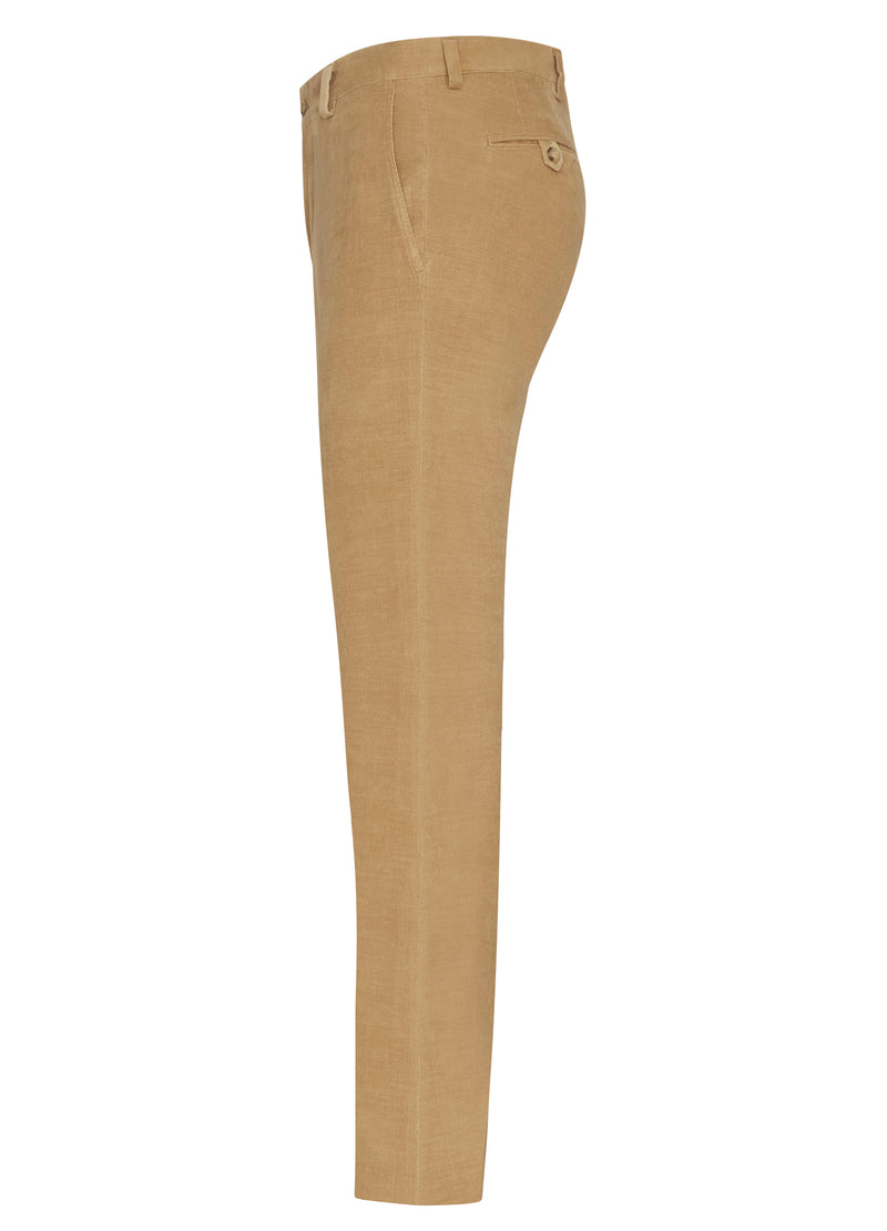 Tan Cotton Cashmere Minicord Trousers