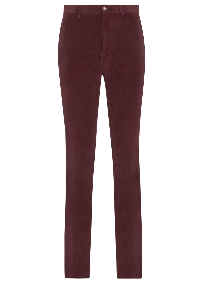 Canadian made Burgundy Cotton Cashmere Minicord Trousers from Samuelsohn