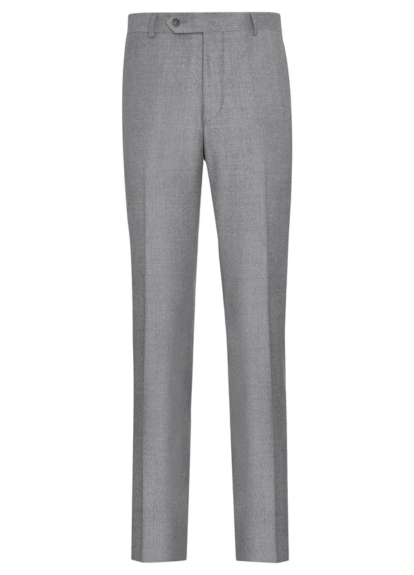 Canadian made Light Grey Ice Flannel Flat Front Trousers from Samuelsohn