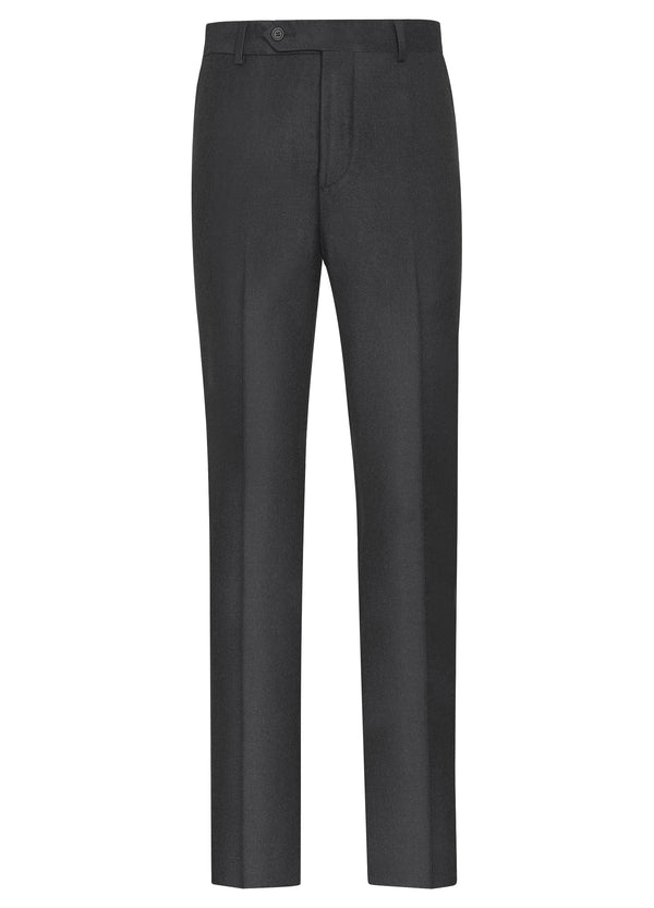 Canadian made Dark Grey Ice Flannel Flat Front Trousers from Samuelsohn