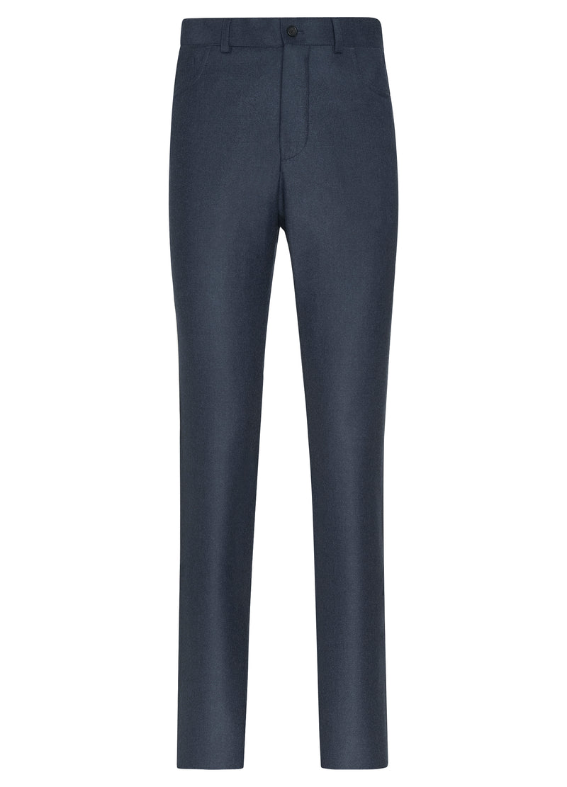 Canadian made Blue Ice Flannel 5-Pocket Trouser from Samuelsohn