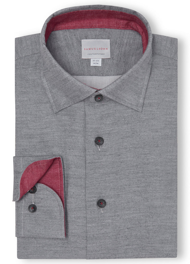Canadian made Gray Soft Hidden Button-down from Samuelsohn