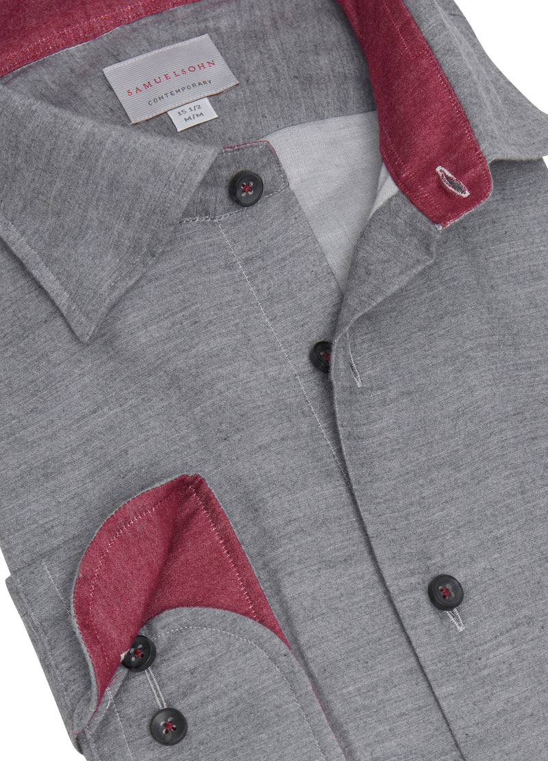 Grey Soft Hidden Button-down Shirt