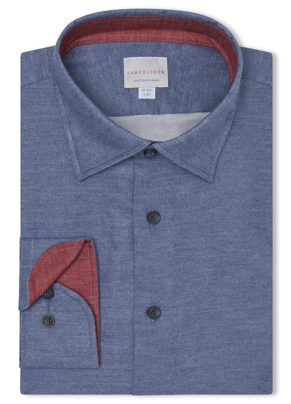 Canadian made Navy Hidden Button-Down Shirt from Samuelsohn