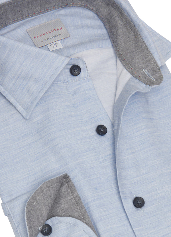Sky Blue Hidden Button-down Shirt