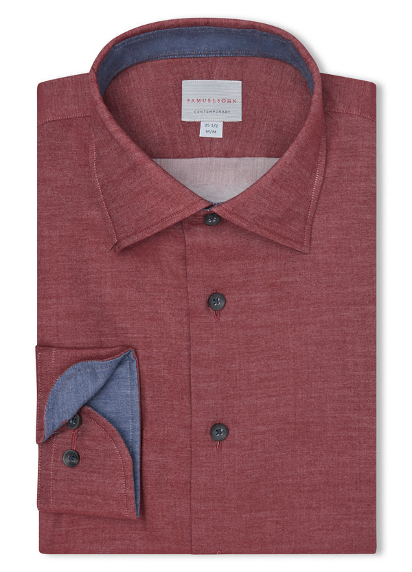 Canadian made Wine Hidden Button-down Shirt from Samuelsohn