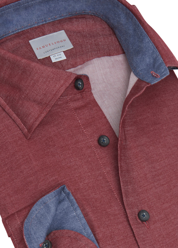 Wine Hidden Button-down Shirt