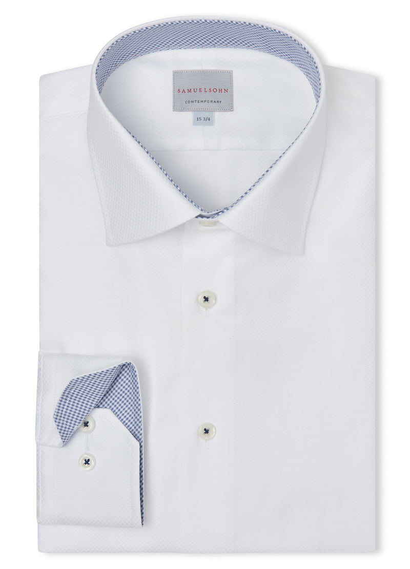 Canadian made White Basket Weave Pique Shirt from Samuelsohn