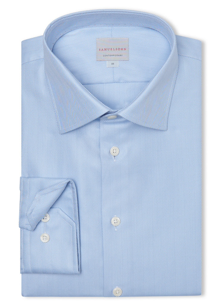 Canadian made Blue Classic Herringbone Shirt from Samuelsohn