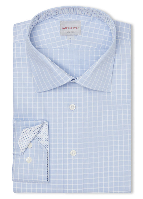 Canadian made Ice Blue Grid Check Shirt from Samuelsohn
