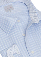 Ice Blue Grid Check Shirt