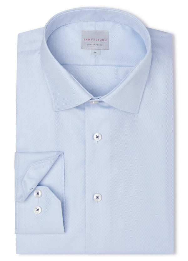 Canadian made Royal Blue Twill Shirt from Samuelsohn