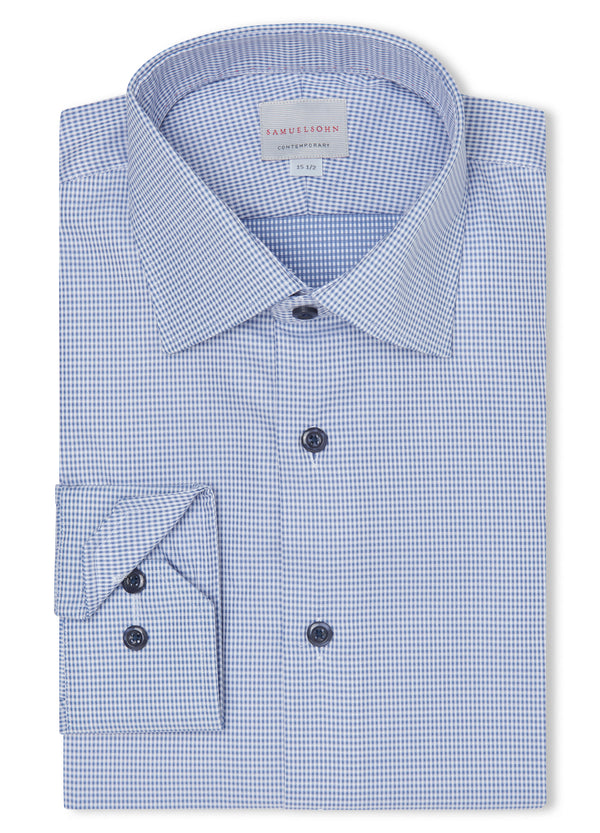 Canadian made Textured Blue Gingham Shirt from Samuelsohn
