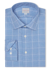 Canadian made Blue Windowpane Check Shirt from Samuelsohn