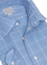 Blue Windowpane Check Shirt