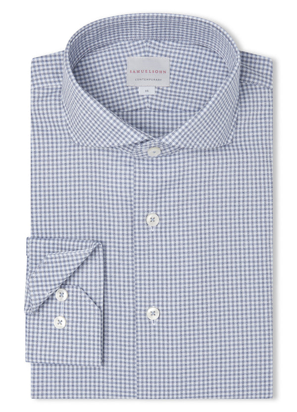 Blue Crepe Gingham Check Shirt