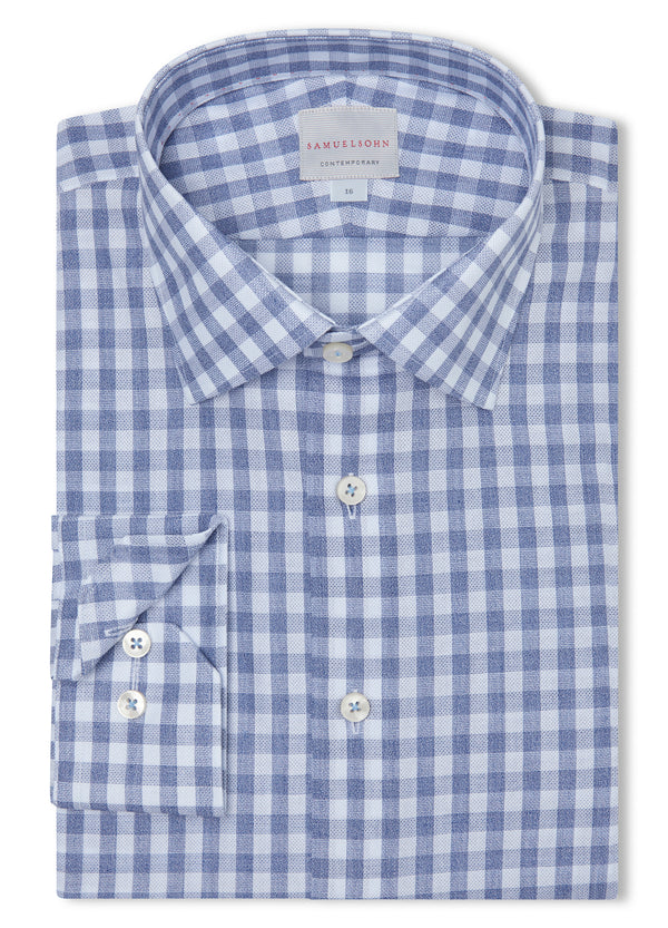 Canadian made Blue Heather Gingham Check Shirt from Samuelsohn