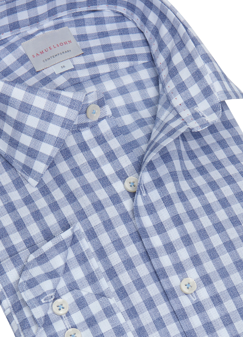 Blue Heather Gingham Check Shirt