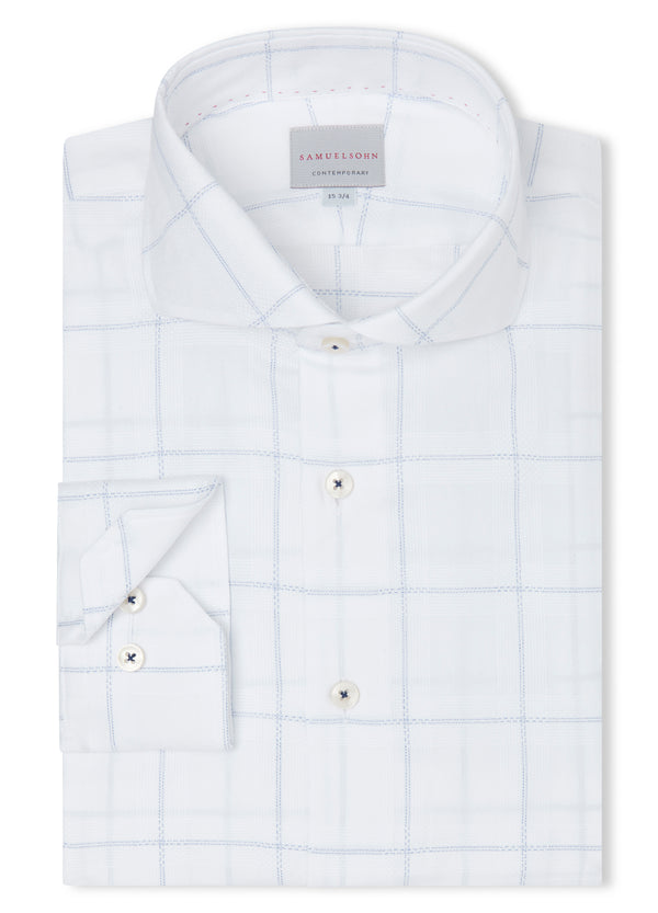 Canadian made Blue Oversized Grid Check Shirt from Samuelsohn