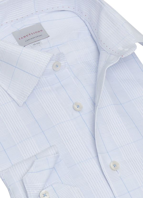 Blue Batiste Summer Plaid Shirt