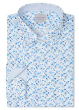 Canadian made Blue Watercolour Floral Print Shirt from Samuelsohn