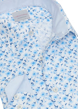 Blue Watercolour Floral Print Shirt