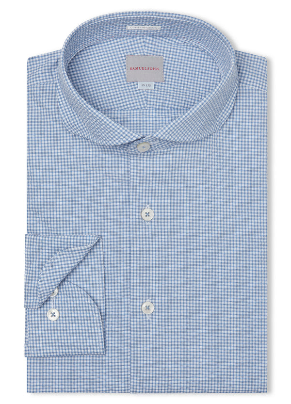 Canadian made Blue Summer Check Seersucker Shirt from Samuelsohn