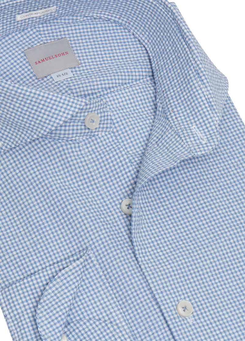 Blue Summer Check Seersucker Shirt