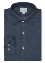 Canadian made Dark Denim Washed Indigo Shirt from Samuelsohn