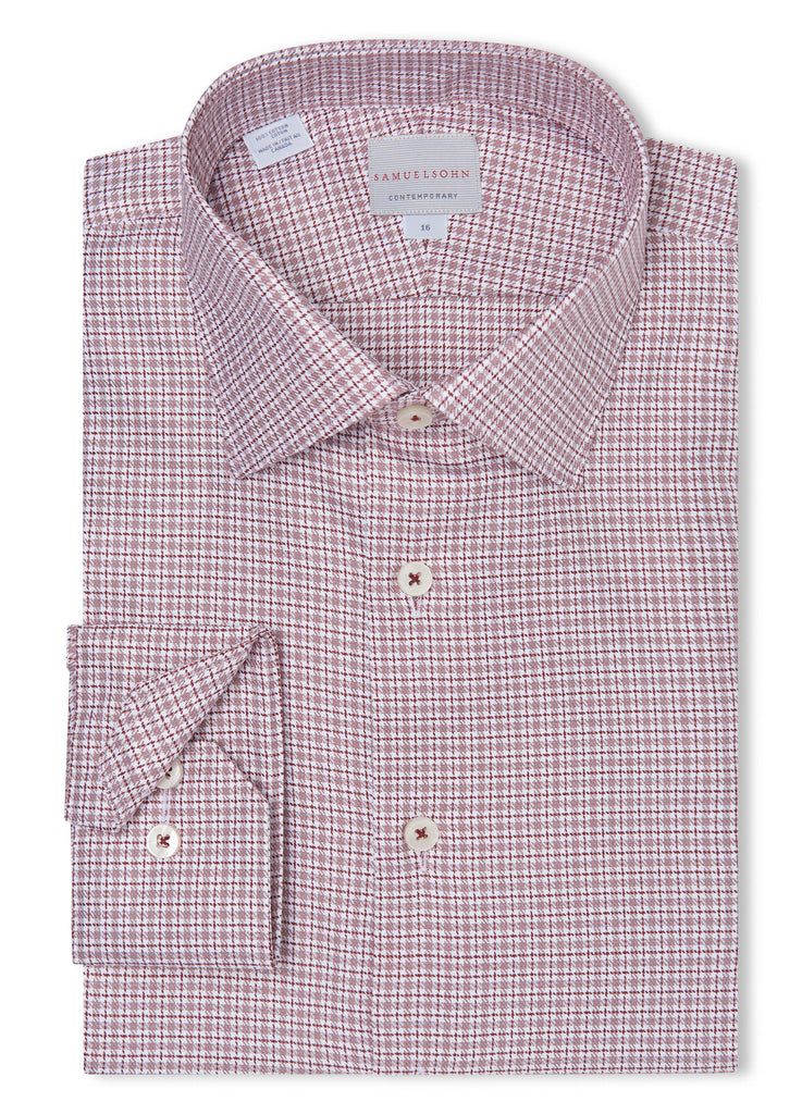 Canadian made Wine Twill Devon Check Shirt from Samuelsohn