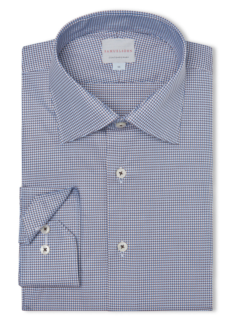 Canadian made Coffee Textured Honeycomb Shirt from Samuelsohn