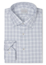 Canadian made Navy Wales Twill Check Shirt from Samuelsohn