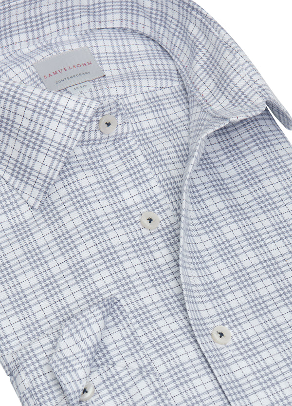 Navy Wales Twill Check Shirt