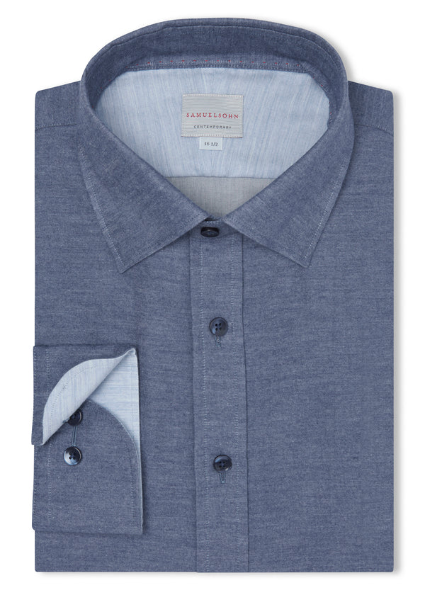 Canadian made Navy Soft Hidden Button-Down Shirt from Samuelsohn